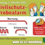 Zivilschutz-Probealarm am 02. Oktober 2021 zwischen 12:00 und 12:45 Uhr